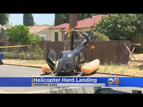 4 Injured As Helicopter Crash-Lands On Sherman Oaks Street thumbnail