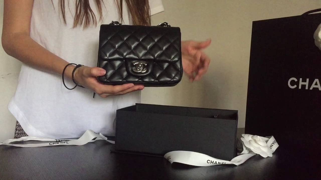 72752abd4c72 CHANEL Classic Mini Square (Black Lambskin) - Unboxing - YouTube