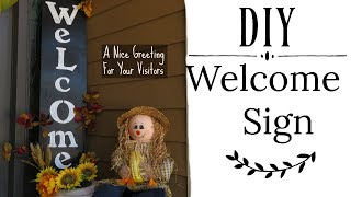 DIY Welcome Sign For Your Front Door Entrance | Fall Outdoors Home Decor