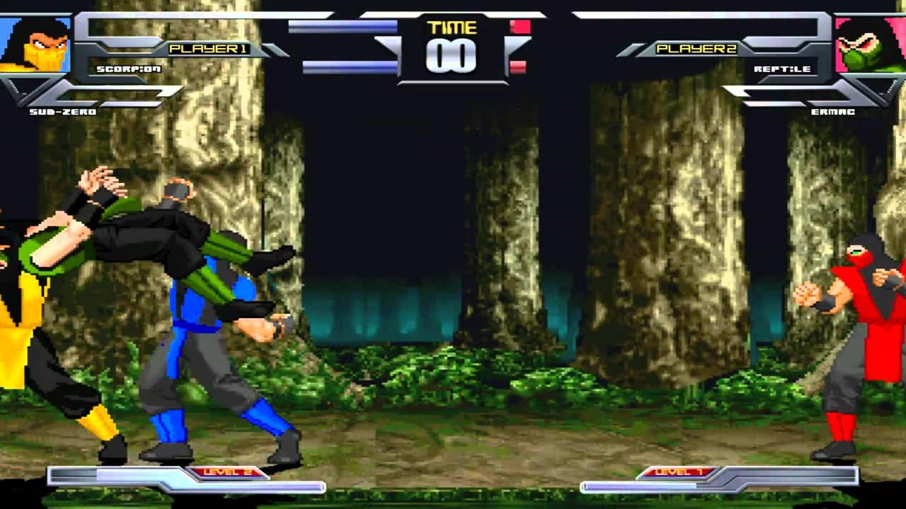 MUGEN Fight 2 - Scorpion and Sub-Zero vs Reptile and Ermac ...