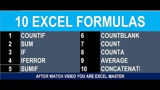 #55 Teach excel most important tricks and 10 formulas