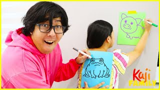 Drawing on my back challenge Mommy vs Daddy!!!