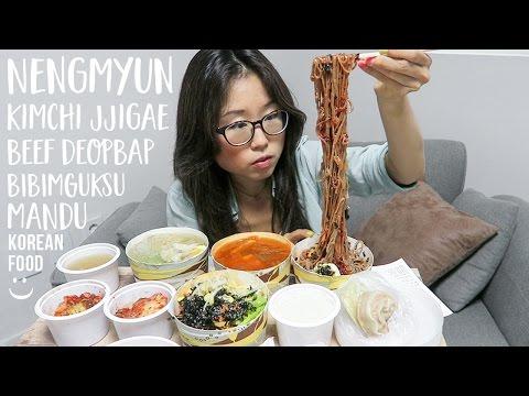 MUKBANG ft. Kimchi Jjigae, Mandu, Icy Nengmyun, Bibim Noodles