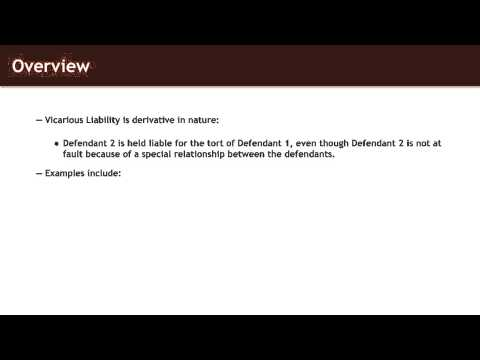Torts Lecture Introduction To Vicarious Liability Quimbee