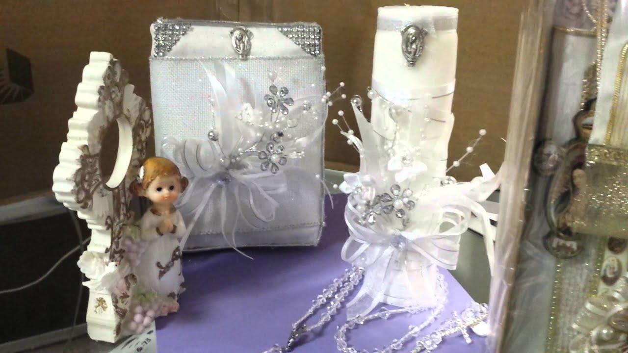 Velas de primera comm con biblia y rosario youtube - Como decorar una comunion ...