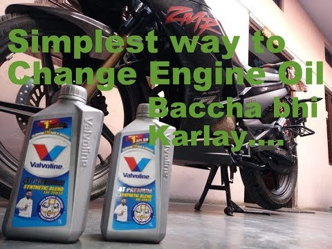 Simplest way to change Engine Oil for any bike (using KariZma ZMR lovers) 1.35 lt. (Part 3).