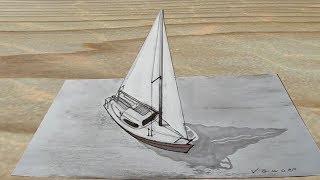 Drawing 3D Trick Art on Paper - Sailboat Illusion - Vamos