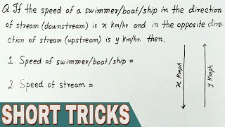 BOAT & STREAM Problems Tricks (In Hindi) | Boat and Streams tricks