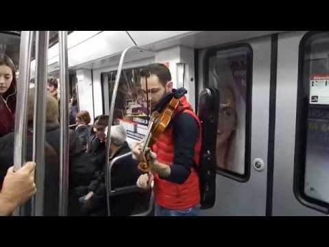 Violinist in subway, Barcelona
