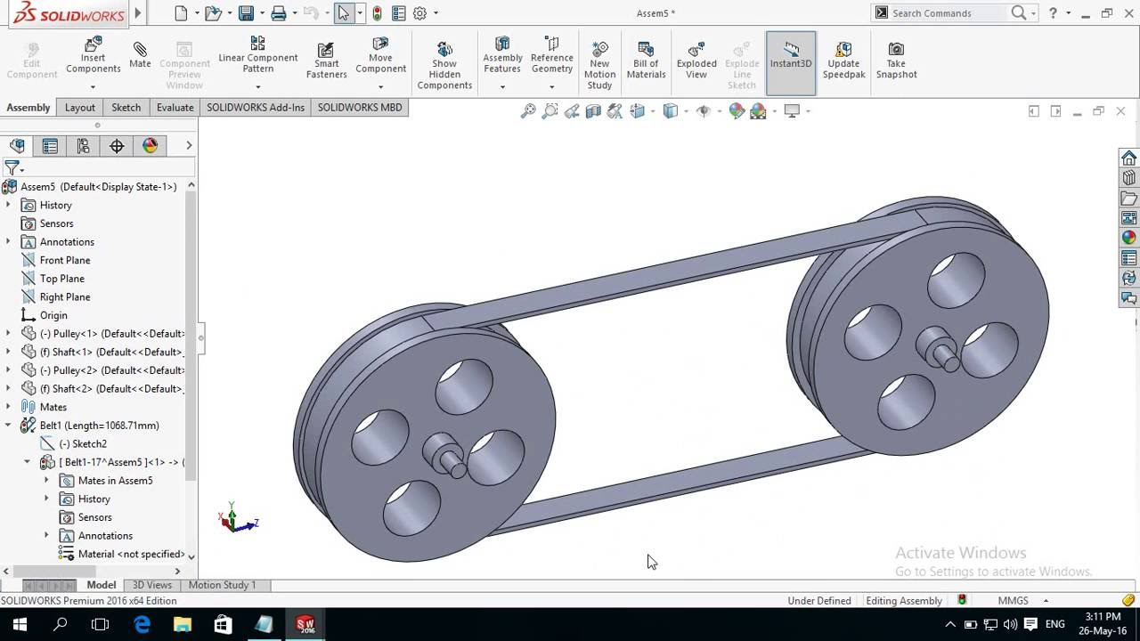solidworks cad pulley system In this tutorial video i will show you how to design and assemble a pulley in solidworks& i hope you will enjoy the tutorial, please subscribe our channel .