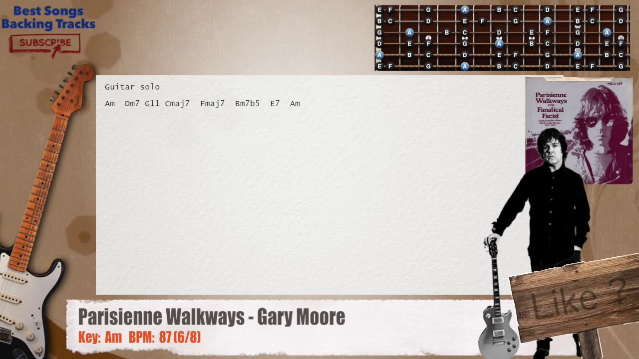 Parisienne Walkways Gary Moore Guitar Backing Track With Chords
