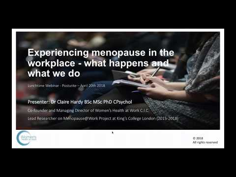 Experiencing menopause in the workplace what happens and what we do | Posturite Webinars