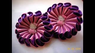 Резиночки зефирки канзаши с Китти (Hello Kitty) мастер класс