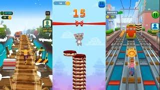 Subway Rush Runner VS Talking Tom Cake Jump VS Subway Princess Runner | Friction Games