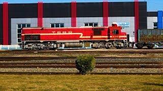 TCDD DE 22000 ve DE 24000 kısa bir manevra ve DE 33000 yakıt treni Afyon Gar çıkışı