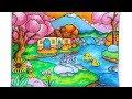 Cara Gradasi Warna Oil Pastel Crayon - Menggambar Pemandangan Dengan Rumah Dan Air Terjun Mini