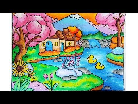 Cara Gradasi Warna Oil Pastel Crayon Menggambar Pemandangan Dengan