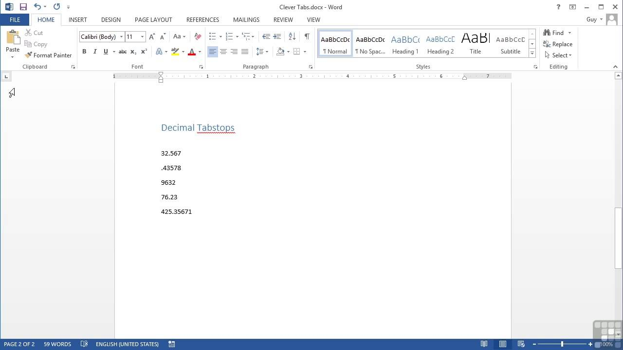 Microsoft word 2013 tutorial two clever tabs decimal and bar microsoft word 2013 tutorial two clever tabs decimal and bar biocorpaavc Choice Image