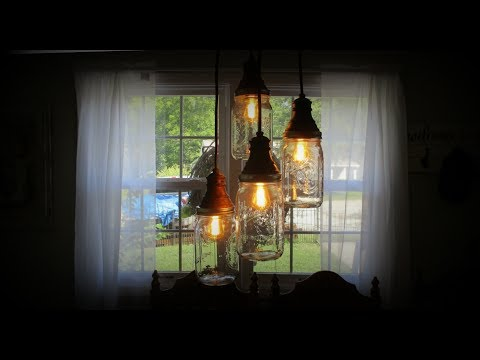 How to make a DIY Mason Jar Chandelier From Pendant Lights!