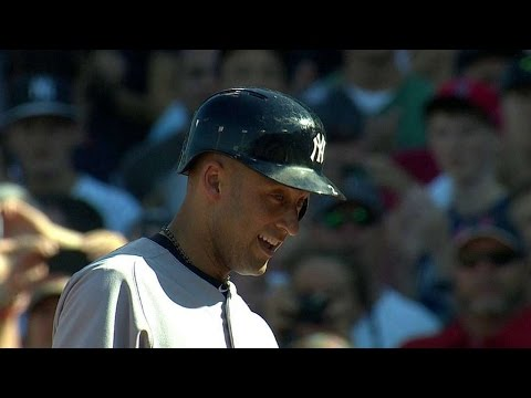 Derek Jeter exits to an ovation after final at-bat at Fenway