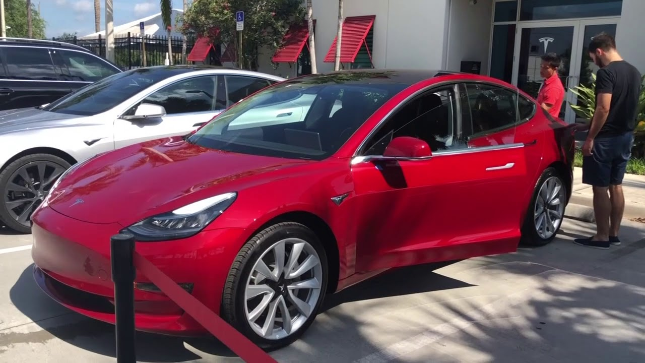 Red Tesla Model 3 Delivery Day Inspection and Walk Around ...