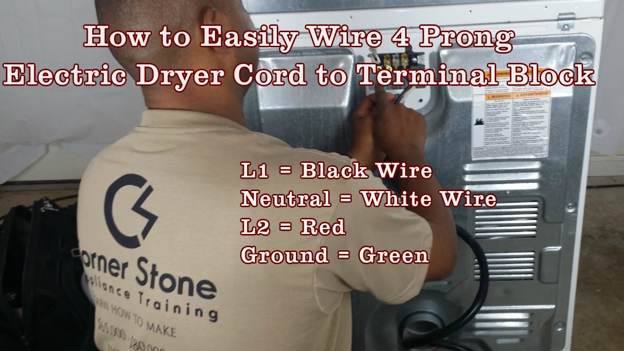 how to install a 4 wire cord on whirlpool electric dryer terminal how to install a 4 wire cord on whirlpool electric dryer terminal block is easy