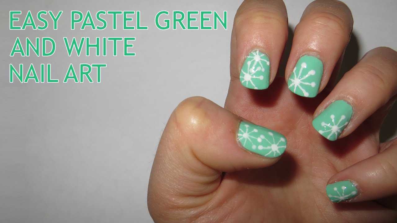 easy pastel green and white nail art - youtube