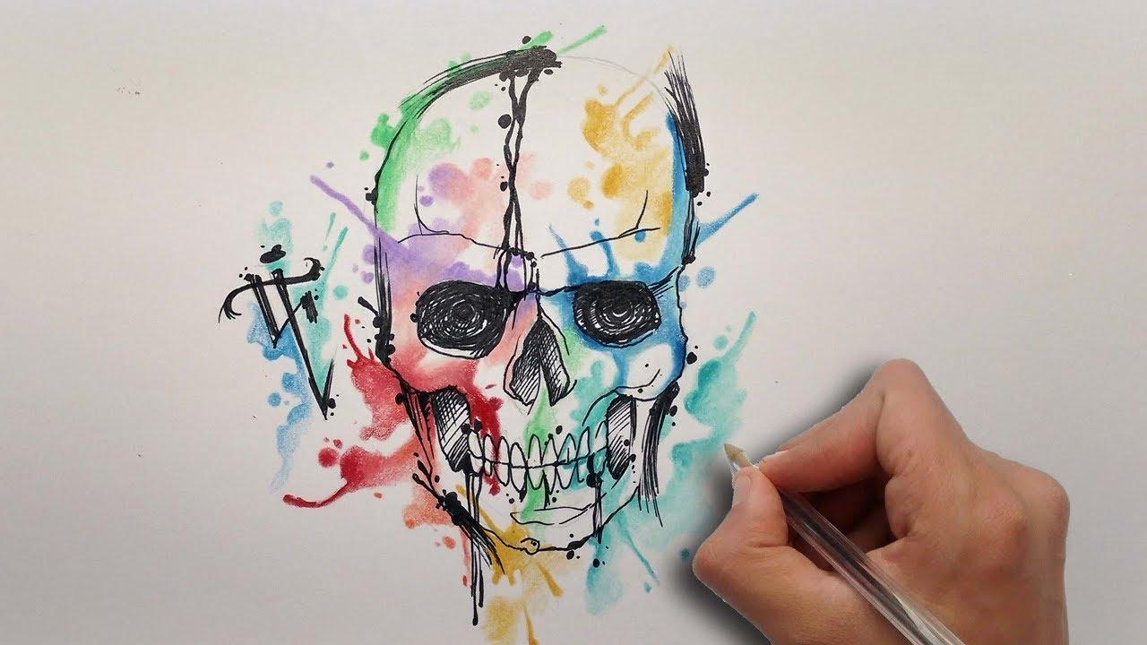 Diseño Craneo Acuarela / Aquarelle Skull Design - Nosfe