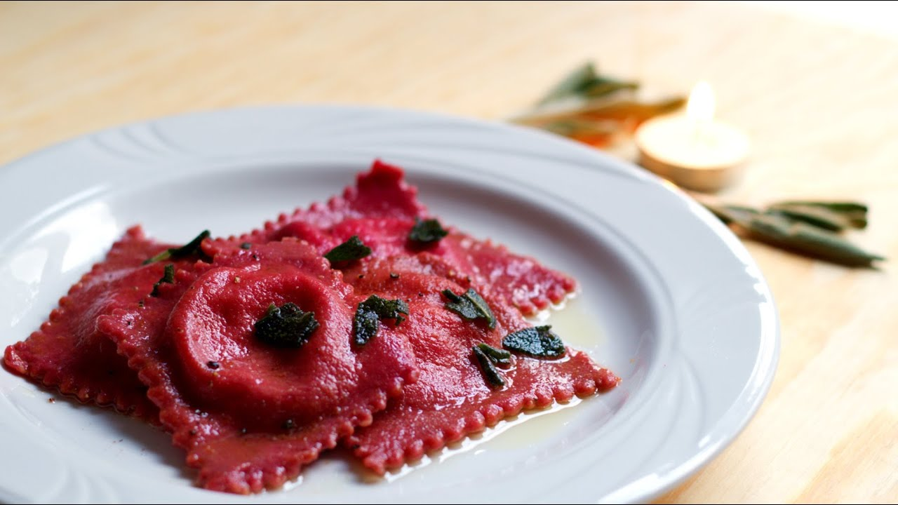 Pumpkin and Goat Cheese-stuffed Beet Ravioli | Tasty Memories #1