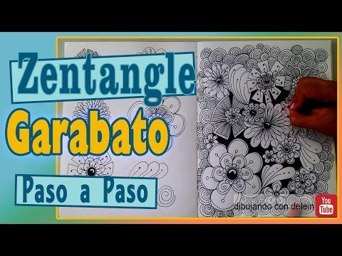 Como dibujar Garabato Zentangle #2, dibujo zentangle diseño floral