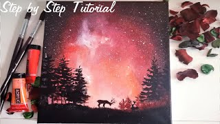galaxy painting beginners acrylic easy step sky simple starry