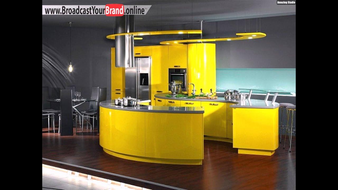 Stilvolle Runde Gelbe Küche
