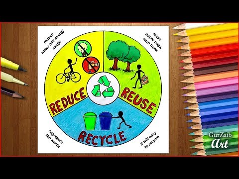 How to draw Reduce Reuse Recycle poster chart drawing for school students ( easy ) step by step