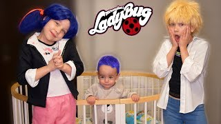 Ladybug and Chat Noir and their children. Fairy tales for night from Marinette Miraculous real life