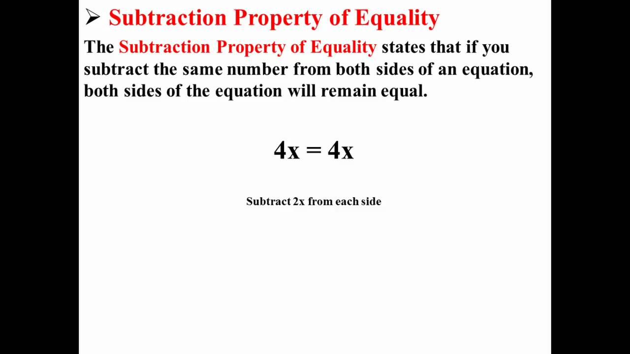 Subtraction Property of Equality - YouTube
