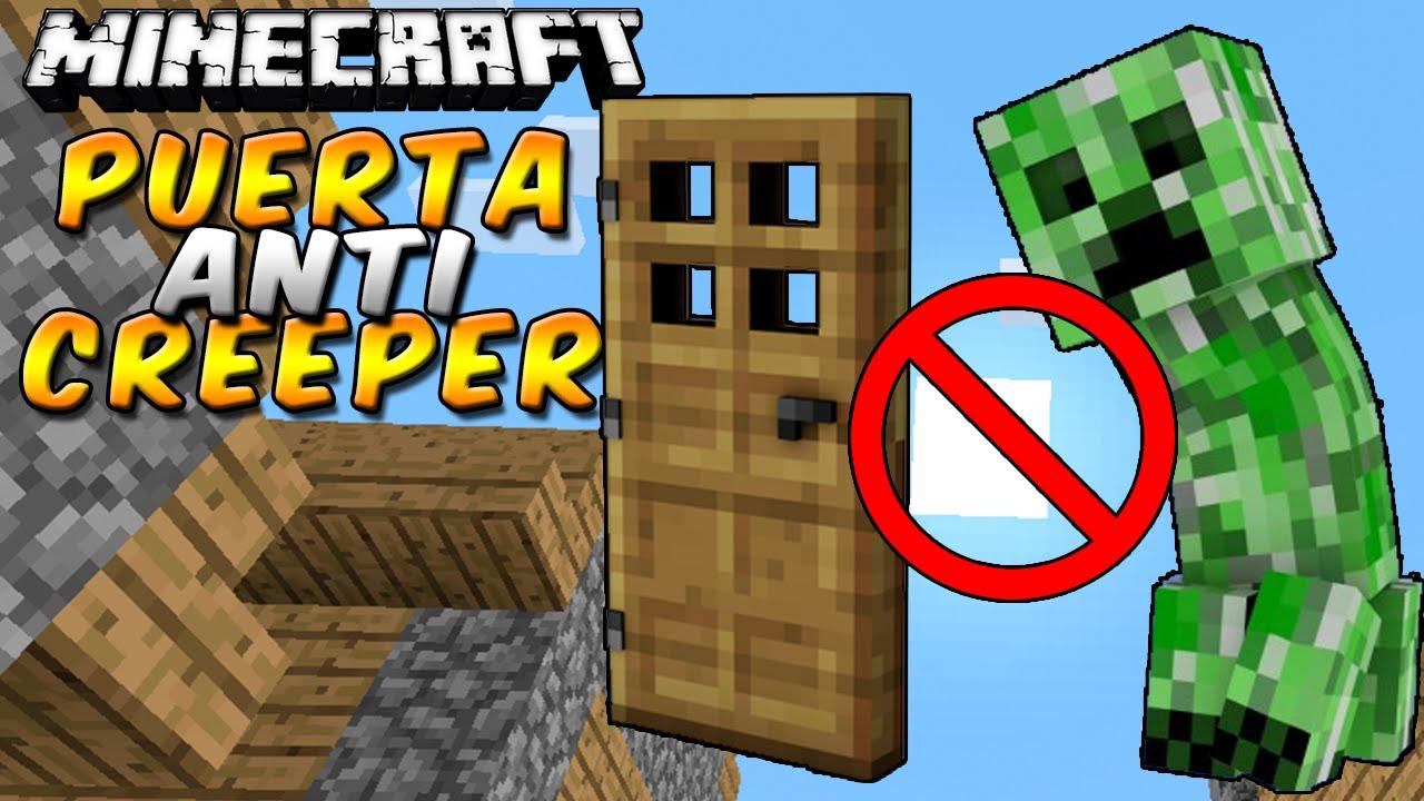 Minecraft como hacer una puerta anti creepers rabahrex for Blancana y mirote minecraft