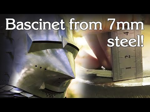 One piece forged bascinet from the 7 mm steel plate, eng sub. Цельнокованный бацинет из стали 7 мм.