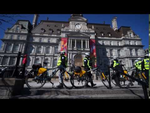 SPVM Bicycle Police At Montreal City Hall La Meute Protest 00003