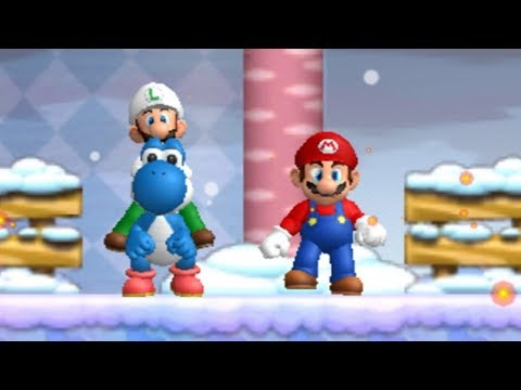 Newer Super Mario Bros. Wii Walkthrough Co-op - Freezeflame Glacier and Volcano (World 5)