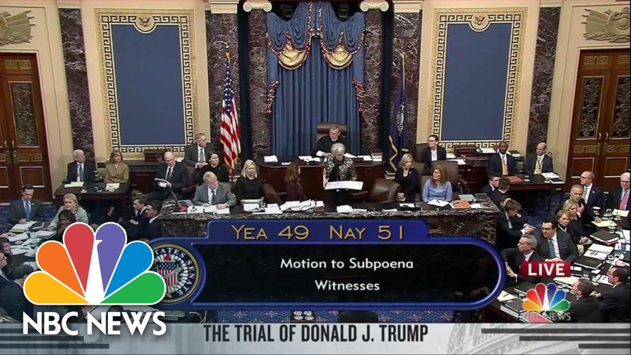 Senate Votes 'No' To Allow Witnesses For Impeachment Trial | NBC News
