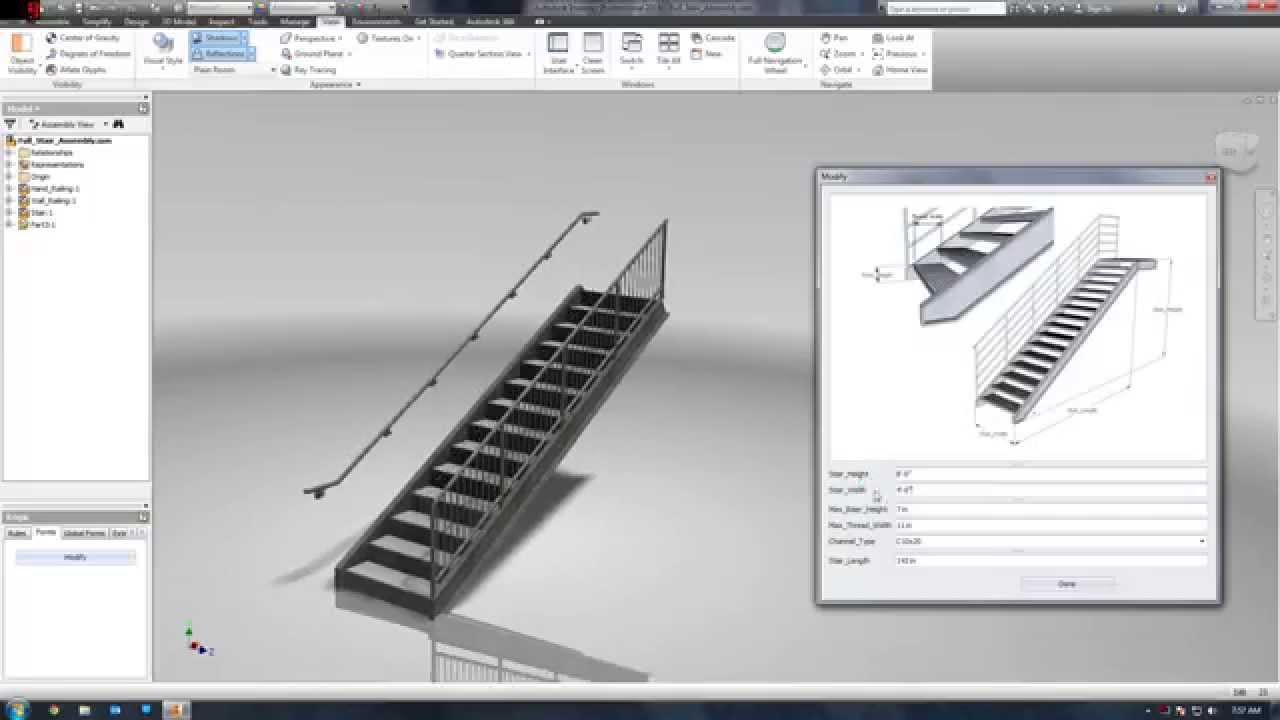 Autodesk Inventor Ilogic Stair 2 0 Youtube