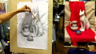 Обучение рисунку. Введение. 25 серия: несложный натюрморт, продолжение работы в тоне