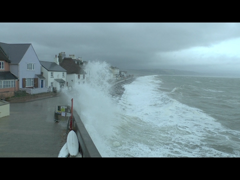 Torcross storms 3/2/17 Gale force winds very high waves storm watch.