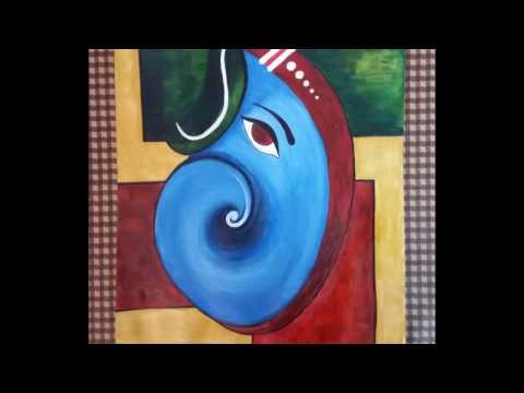 How to make acrylic abstract Ganesha painting: step by step tutorial