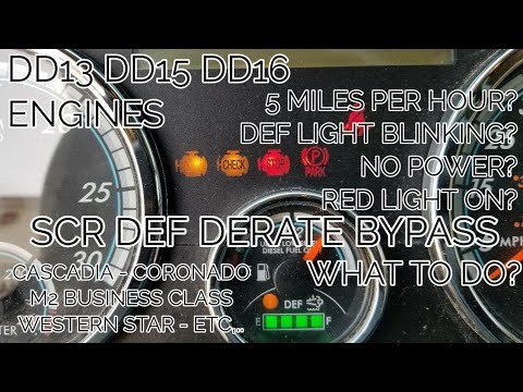 Freightliner cascadia DD13 DD15 DD16 Emissions derate bypass 5 miles per  hour SCR DEF light blinking