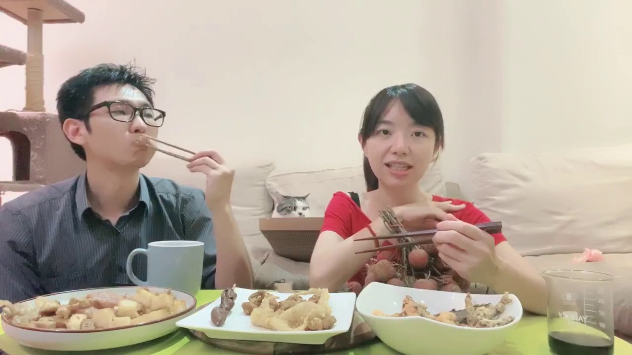南港30年鹹酥雞+黑葉荔枝+英文教學『菜子吃播』 (下) - YouTube