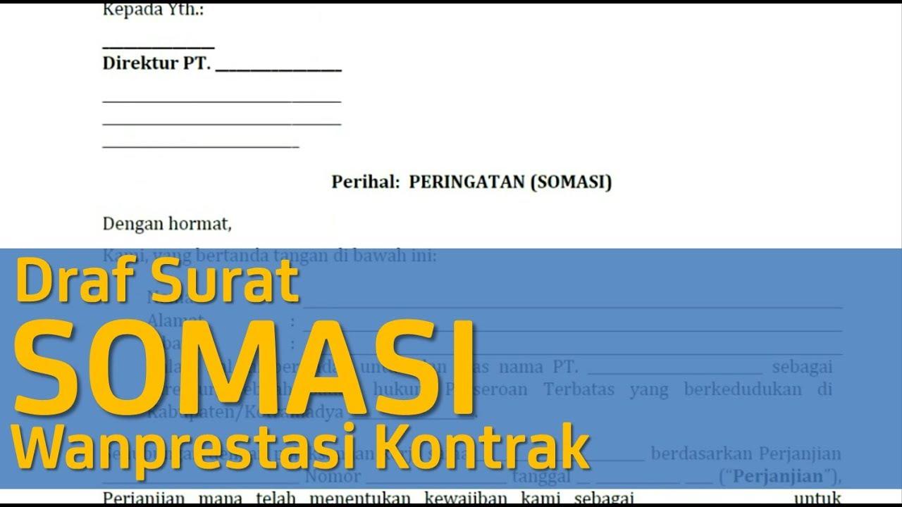 Draf Surat Somasi Wanprestasi Kontrak