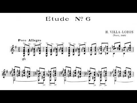 Heitor Villa-lobos - 12 Études for Guitar (Score video)