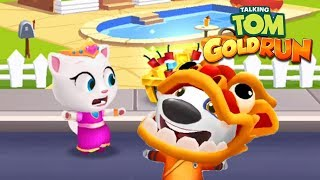 Talking Tom Gold Run - KUNG FU HANK vs Princess Angela ipad Gameplay