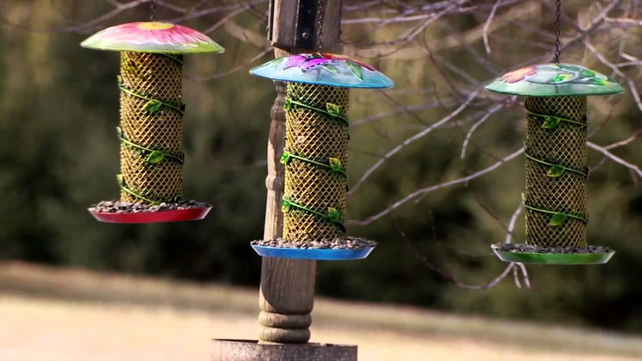 Vine-Wrapped Glass & Metal Bird Feeder by Evergreen Garden - YouTube